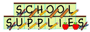 """words """"school supplies"""" with rulers, pencils, apples"""