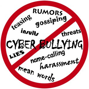 circle of words crossed out: cyberbullying, rumors, gossping, lies, name calling, harassment, threats