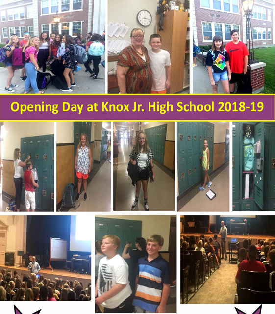 a collage of photos of students by lockers, in front of Knox building, in the Knox office and auditorium