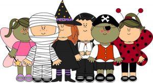cartoon clip art kids in halloween costumes