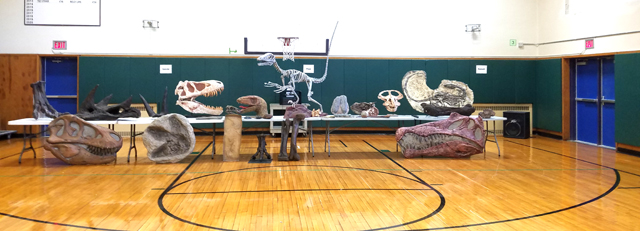 artifacts displayed on table in gym