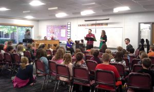 Bridge Artists with the 5th and 6th Grade Choruses