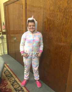 another student dressed for pajama day