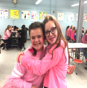 two more students dressed in pink