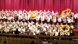 All State students performing on stage, three JHS students circled