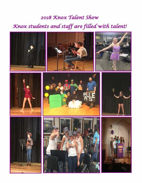 collage of photos from Knox 2018 Talent Show performances