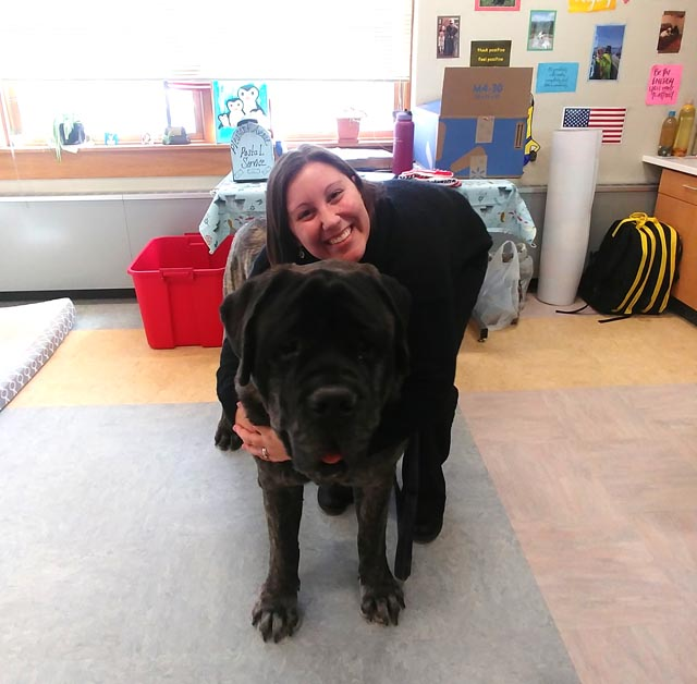 Mrs. Haverly hugging Ross