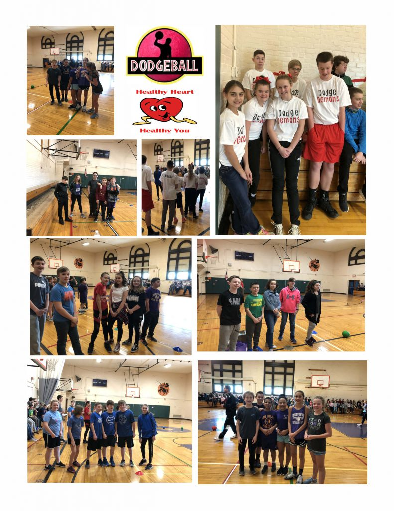 collage of photos from the dodge ball tournament