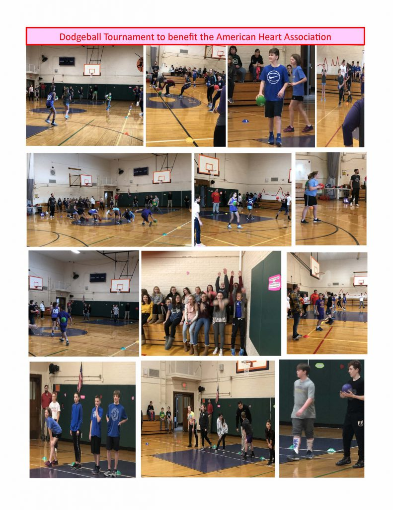 second collage of photos from dodgeball tournament