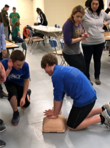 student doing cpr training