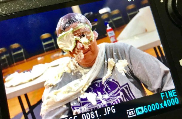 Mrs. Lent with a pie in her face