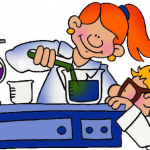 cartoon of kids conducting science experiment