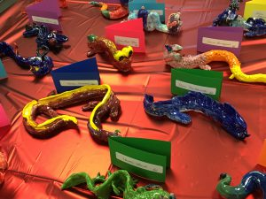 ceramic snakes created by students