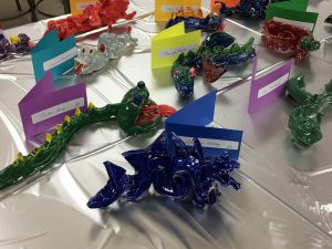 ceramic dragons created by students