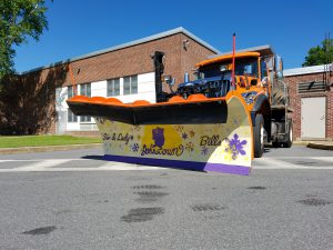 city plow truck - the plow was painted by JHS students with Sir Bills & Lady Bills Logos