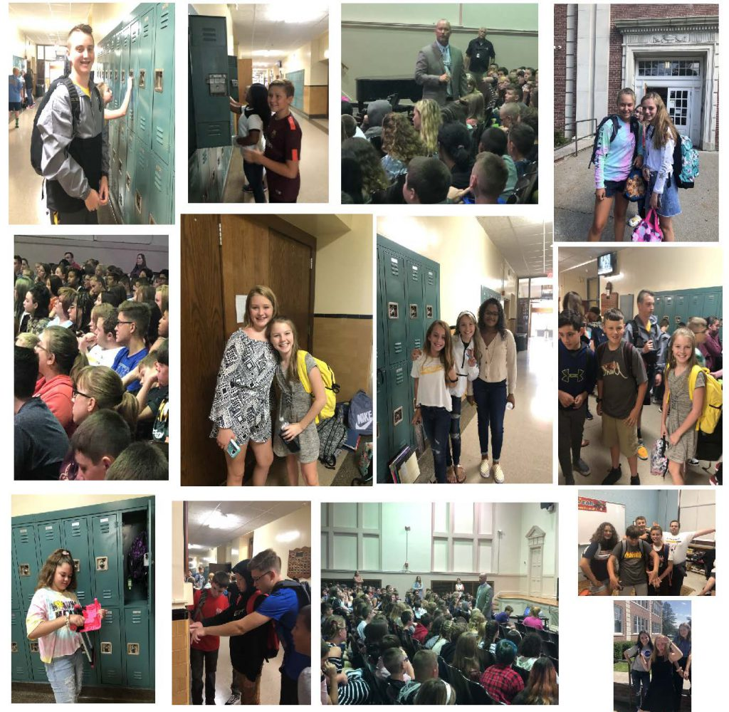 collage of photos of students by lockers, principal addressing students, students posing next to entry doors