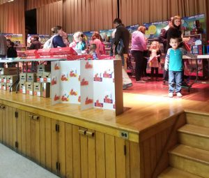 students and families explore the book fair
