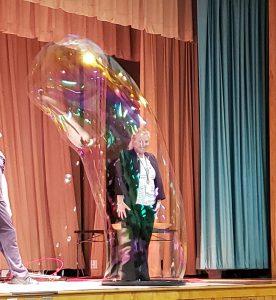 lady inside a bubble