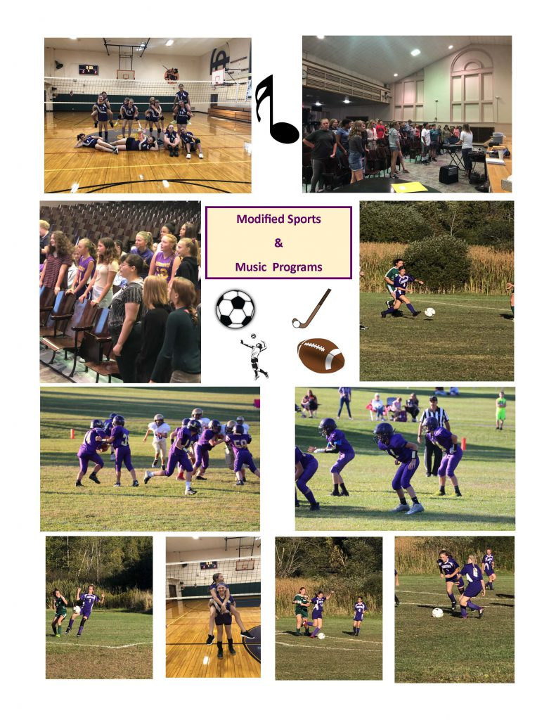 collage of 10 photos showing stufdents in gym, on football and soccer fields, in front of volleyball net, in auditorium and music room
