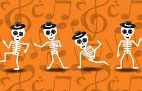 skeletons wearing hats and dancing