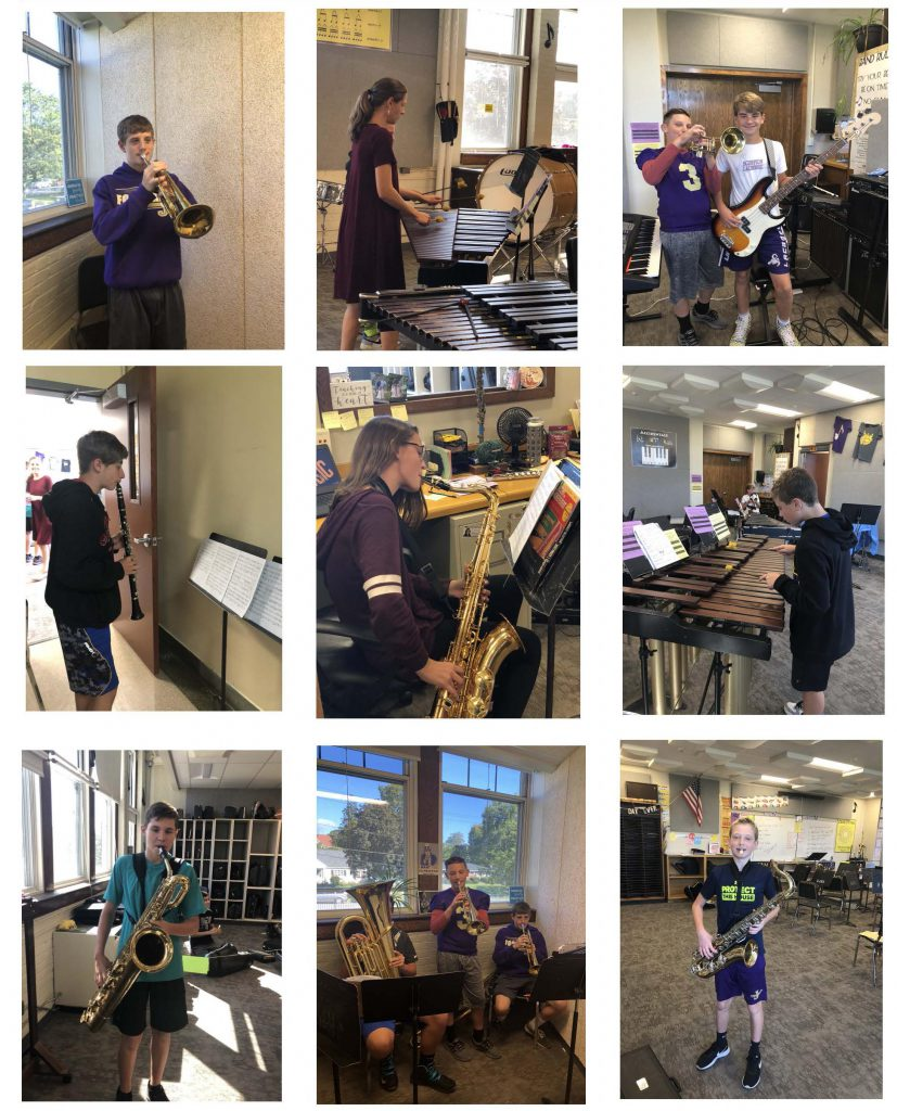 collage of nine photos of students with various musical instruments - tuba, xylophone, clarinet, saxophone, guitars