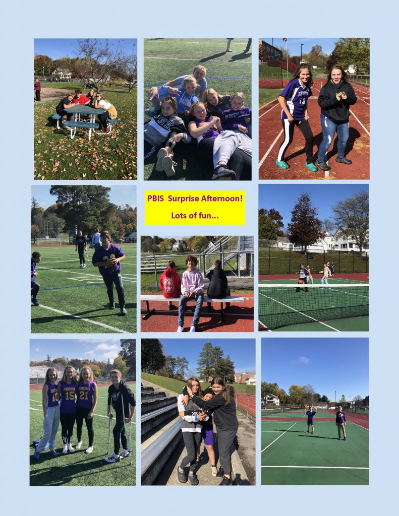collage of nine photos showing Knox students outside on track, tennis courts, at a picnic table, on Knox Field