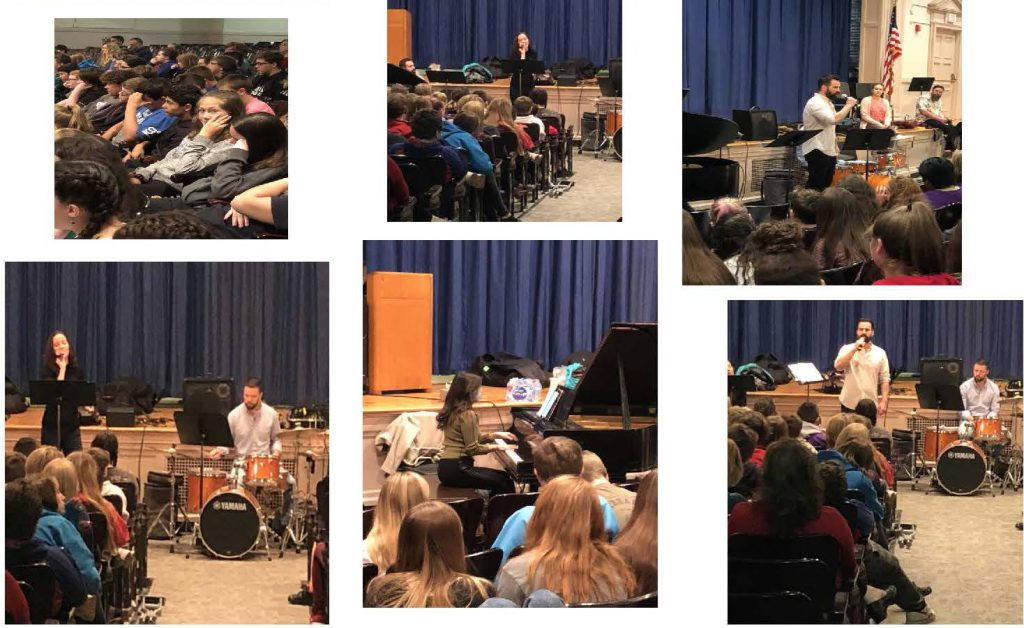 collage of six photos of Knox students in auditorium watching musical performers