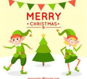 two dancing elves a Christmas tree and the words Merry Christmas
