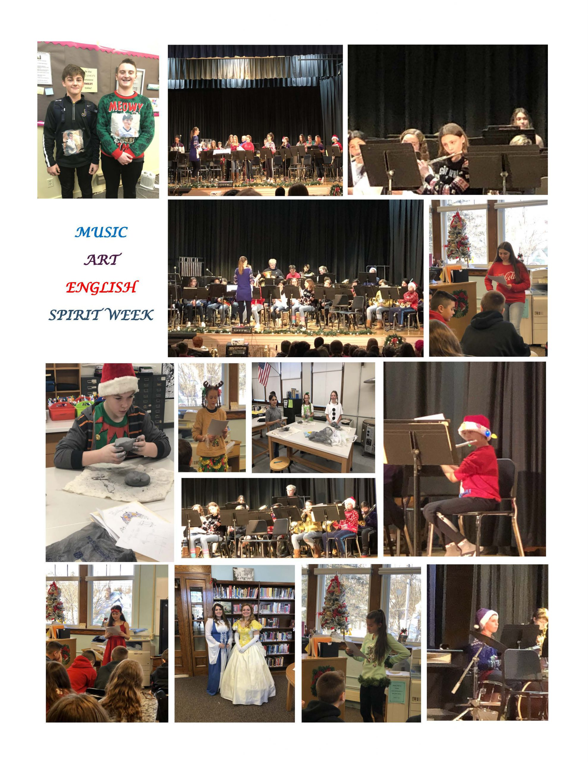 collage of photos of students playing instruments, working on art projects, dressed in costumes
