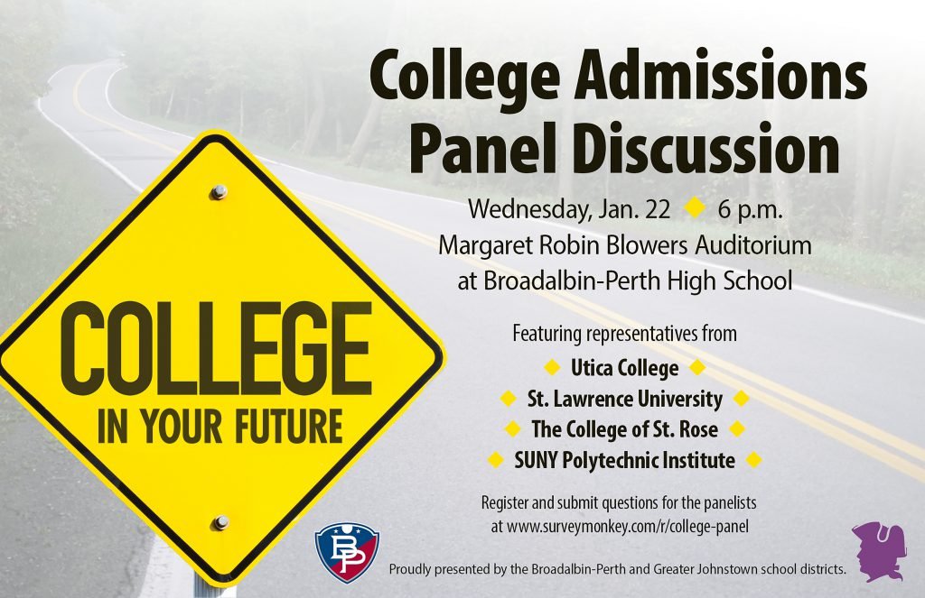image of flyer announcing the information about the College Admissions Panel Discussion