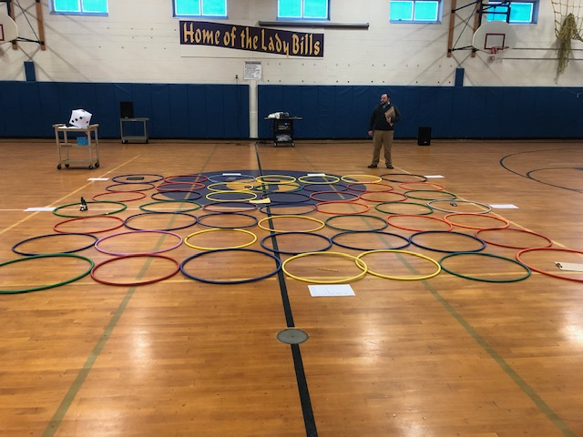 the Clue mansion marked out with hula hoops