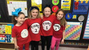 "students wearing ""thing 1 and thing 2"" t-shirts"
