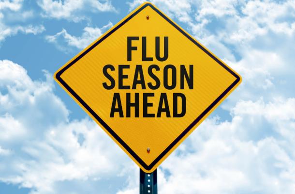 "Traffic Sign Reading ""Flu Season Ahead"""