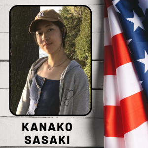A girl smiling in an outdoor photo, next to an American flag, with her name listed, Kanako Sasaki.