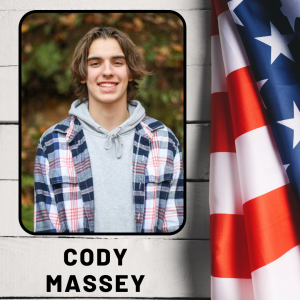 A boy smiling in an outdoor photo, next to an American flag, with his name listed, Cody Massey.