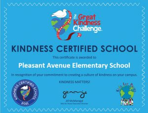 """A blue certificate awarded to Pleasant Avenue Elementary designating them as a """"Kindness Certified School"""""""