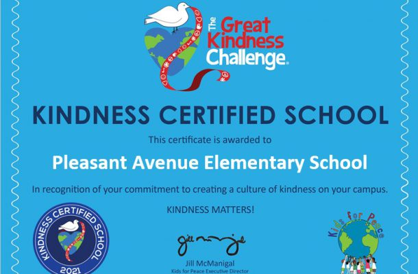 "A blue certificate awarded to Pleasant Avenue Elementary designating them as a ""Kindness Certified School"""