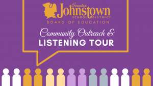 """a purple background is shown with a yellow Johnstown logo and the words """"Community Outreach and Listening Tour"""""""