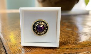 """A commemorative pin is shown that has a purple stone in the middle, with the words """"ABCD Award, Johnstown"""" on it."""