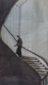 a black and white hand-drawn picture of a person walking up a long staircase with large windows in the background
