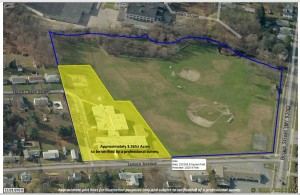 an aerial map of a property shows the section of the property that will be sold in yellow highlight