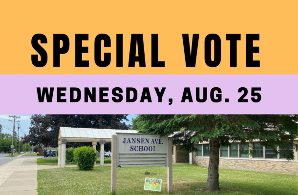 """a purple and yellow graphic reads """"special vote, wednesday, august 25"""" with a picture of the exterior of a school"""